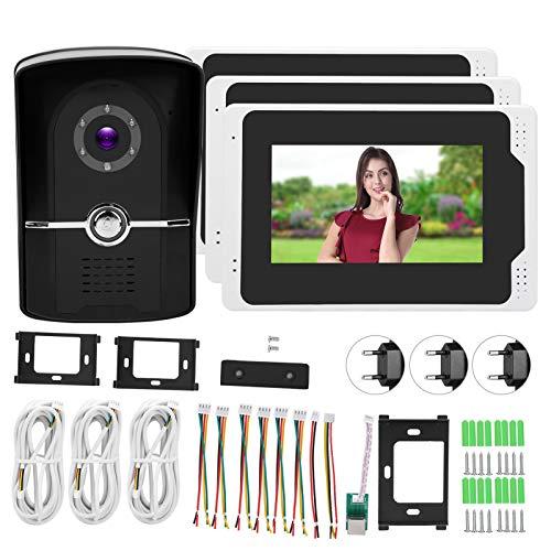 Protección Las 24 Horas Videoportero Monitoreo Remoto Pantalla LCD 1080P HD 3 Monitores 110 ° Visión Gran Angular(European regulations)