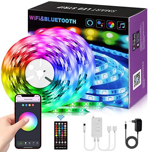 Alexa LED Strip, 10M WiFi Bluetooth LED Streifen Musiksync Stimmenkontrolle via APP, Fernbedienung, Selbstklebend RGB Lichtband für TV, Schlafzimmer, Küche, Party