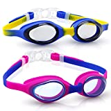 Uniwim Anti Fog Swim Goggles for Kids UV Protection Swimming Goggles for Child( 3 to 12 Years Old) Goggles Youth Anti-Fog Lens and Hypoallergenic Silicone Gaskets Waterproof - 2 Pack