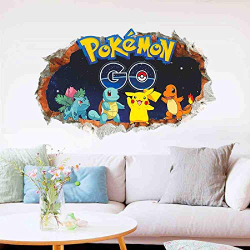 JPDP 3D Cartoon Pikachu Pokemon Go Muurstickers voor Kids Kamers Muurdecoratie PVC Stickers DIY Verwijderbare Posters Jongens Gift