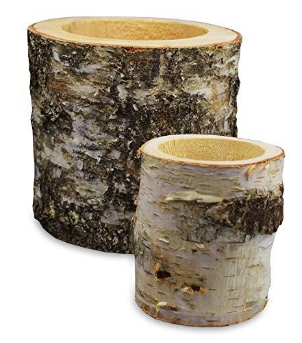Rustical World Stifthalter aus Holz mit Baumrinde, 2er Set | Aus Naturholz, unbehandelt | Auch als Übertopf für Kakteen und Sukkulente