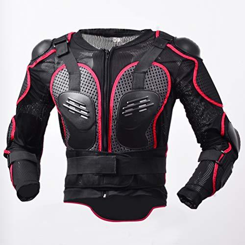 LucaSng Motorrad Rüstungs Radfahren Schutz Jacke Motocross Protektorenjacke mit Rückenprotektor Ganzkörper-Rüstung, Schutzausrüstung Berg Reiten Skaten Snowboarden Brustpanzer (Rot, L)