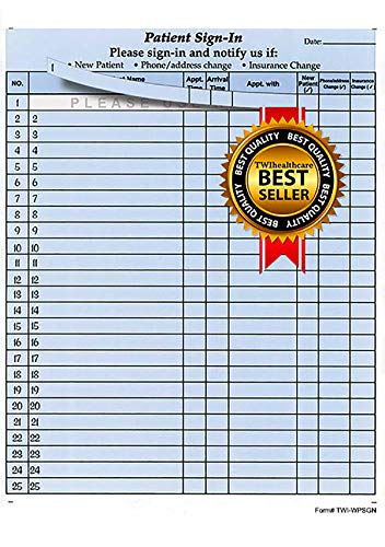 """Patient Sign-in Sheets, 8-1/2"""" X 11"""" (Blue) Carbonless Form (3,125 Patient Labels) HIPAA Compliant - Form # TWI-WPSGN"""