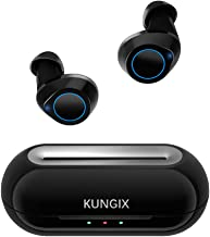 Wireless Earbuds KUNGIX Bluetooth 5.0 True WirelessHeadphones, Deep Bass 3D Stereo Sound Touch Mini Noise Cancelling Earphones, Sweatproof Sports TWS Earbuds Built in Microphone for iPhone Android