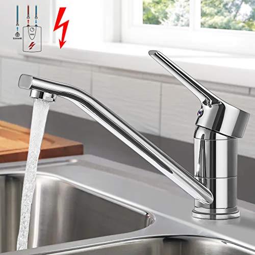 Grifo de cocina de baja presión Woohse, giratorio 360°, grifo para cocina, monomando, latón para calderas sin presión