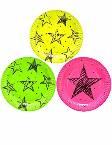 Assiettes Fluo Party x6 - Taille Unique