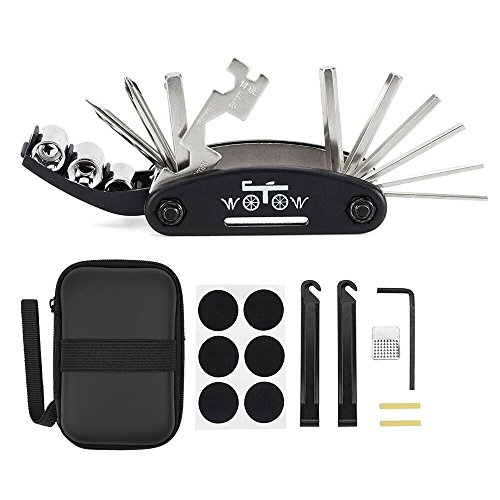 WOTOW 16 in 1 Multi-Function Bike Bicycle Repair Tool Kit Allen Wrench With Tire Pry Bars Rods