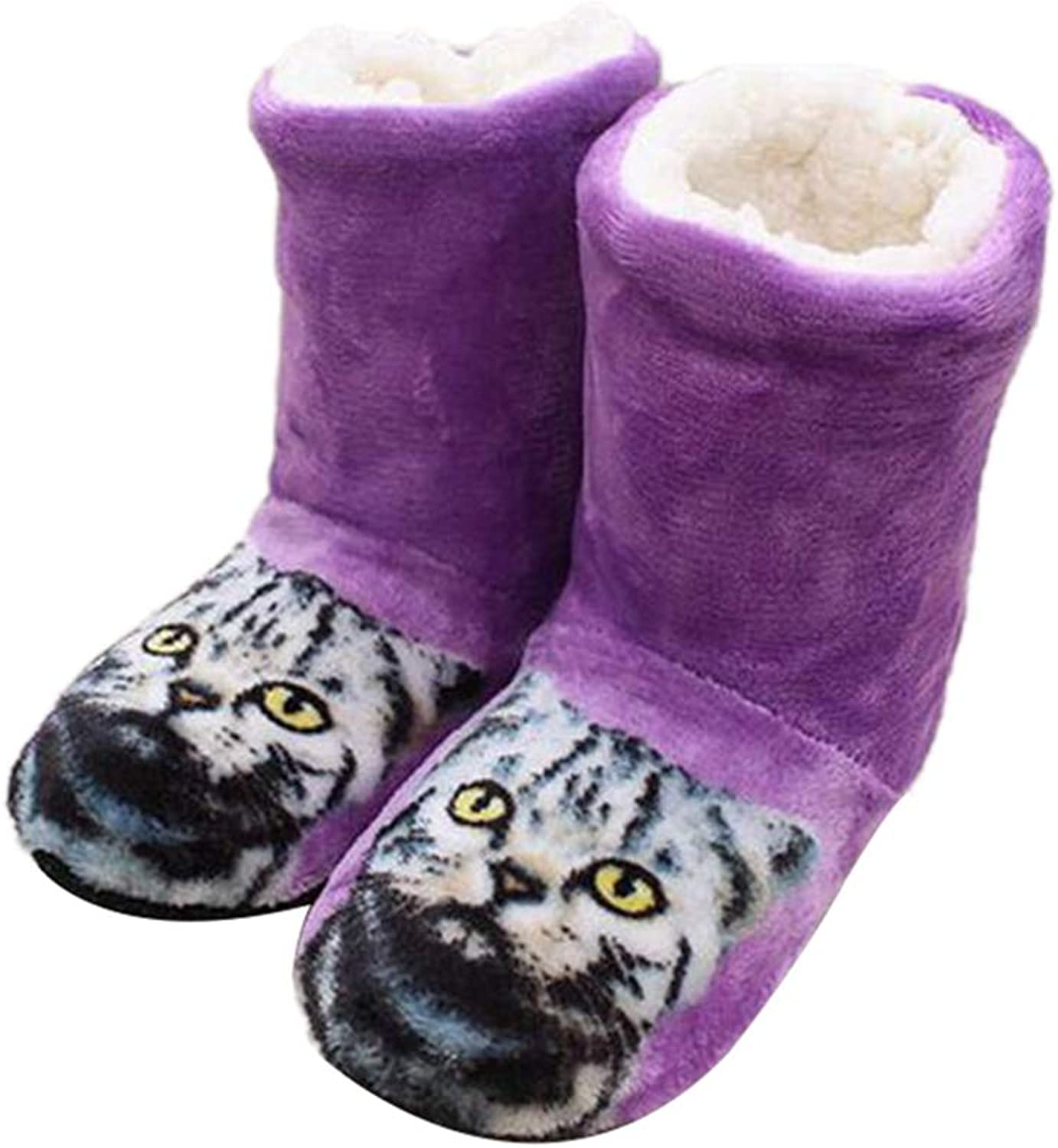 Nafanio Cute Women Girls Boots Slippers Cat Animation Home Winter Warm Cozy Fluffy Soft Cotton Indoor House shoes