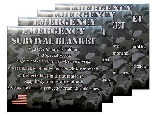 Mylar Space Blanket | 4-Pack | Designed for NASA and the US Military | Perfect for Marathons, First Aid , Emergencies, Survival Kits, Glove Boxes, and Camping.