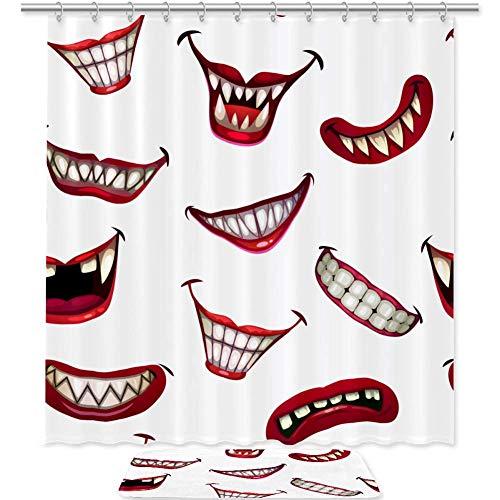 Juego de 2 cortinas de ducha y alfombrilla de ducha de 179,8 cm con diseño de monstruo espeluznante con diseño de boca de payaso con ganchos