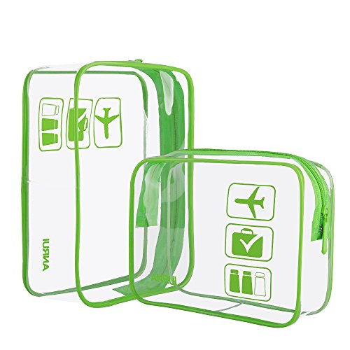 2pcs/Pack Toiletry Bag Travel Luggage Pouch Make up Cosmetic Bag for Women Men Kids Waterproof Shower Wash Bags Organiser(Small, Green)