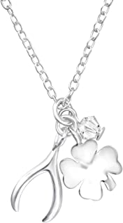 Sterling Silver Lucky Charm Necklace Made With Swarovski Crystal