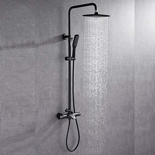 BTASS Schwarz Thermostat Duschset Duschsystem Regendusche Mit Armatur Überkopfbrause Und Handbrause,Duschsystem Mit Thermostat,Höhen Einstellbar