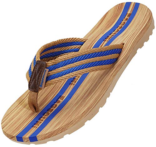 Damen Herren Zehentrenner Sommer Flip Flops Badelatschen Hausschuhe Pantoletten, Blau, 41 EU