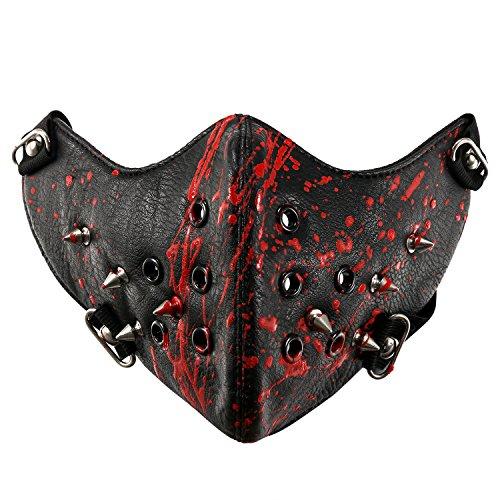 JewelryWe Schmuck Gothic Punk Motorrad Maske Sturmmaske Skimaske Tarnmaske Half Face Gesicht Maske - Spike Spitze Nieten Schwarz Rot