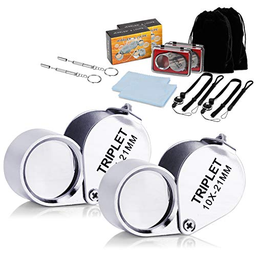 Wanapure 2 Pack 10X Metal Jewelry Loop Magnifier, Jewelers Eye Loupe with 21mm Optical Lens, Includes Drawstring Bag and Adjustable Lanyard, Pocket Chrome Magnifying Glass for Gems, Rock Collection