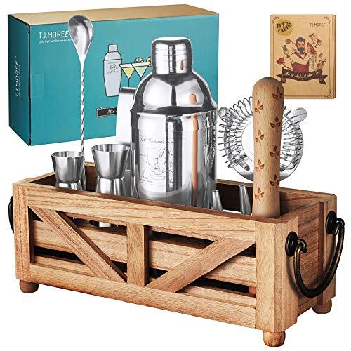 TJ.MOREE Bartender Kit Cocktail-Shaker-Set mit Ständer 11-teiliges Cocktail-Set mit rustikalem Tablett für Mixgetränke, Home Bar Decor Housewarming Gift Bartender Tools