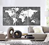 Original by BoxColors LARGE 30'x 60' 3 Panels 30'x20' Ea Art Canvas Print Watercolor Map World countries cities Push Pin Travel Wall Black White Gray decor Home interior (framed 1.5' depth)