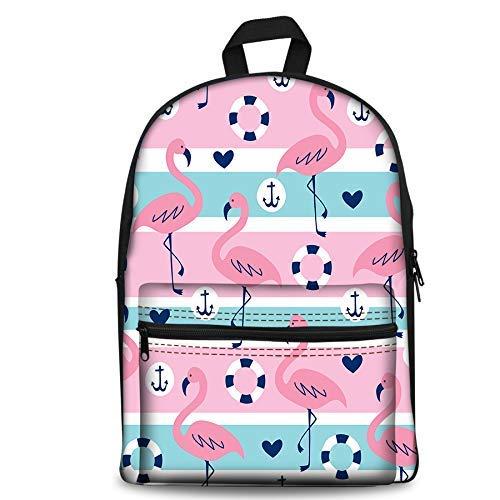 Sac à dos pour enfant Motif flamant rose rayé 43,2 cm + sac pour ordinateur portable léger pour garçons filles 1–6ème grade