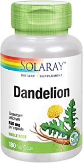 Solaray Dandelion Root 520mg | Healthy Liver, Kidney, Digestion & Water Balance Support | Whole Root | Non-GMO, Vegan & La...