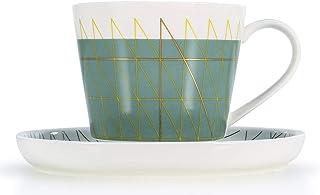 طقم فنجان قهوة وصحون شاي وصحون مجموعة من 2 فنجان قهوة أو إسبرسو آمن للاستخدام في الميكروويف