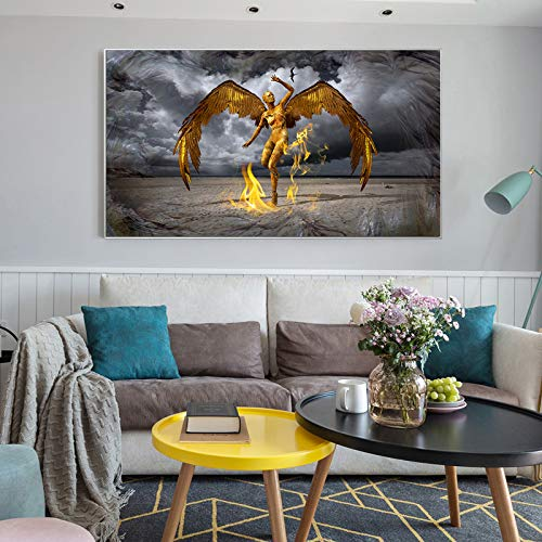 Golden Abstract Poster and Canvas Print Wall Art Painting Leo Wings Protector Decorative Image of Living Room Frameless Painting 60X120CM