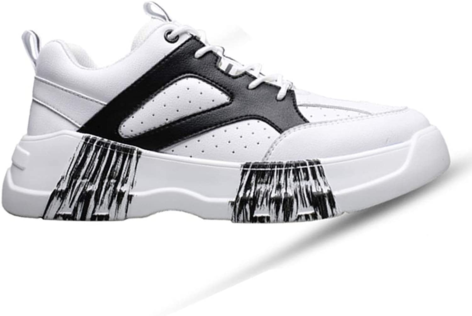Fashion Sneakers Men's shoes Spring 2019 New Sports shoes Men's Casual shoes Breathable Fashion Sports shoes Trend White shoes (color   Black, Size   7M US)