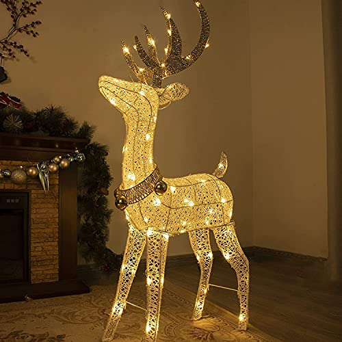 PEIDUO Christmas Lighted Reindeer with 70 Warm White Light,Light up...