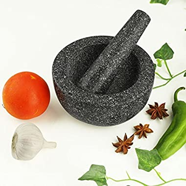 AntTech Sturdy Granite Mortar and Pestle Set Polished Grinder Bowl Herb Grinder Pill Crusher- 5.5 Inch, Black