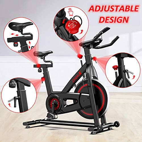 Dripex Indoor Cycling Magnetic Resistance Exercise Bike (2021 Upgraded Version), Ultra-Silent, Heavy Duty Flywheel, Capacity 330 LBS, LCD Monitor, Pulse Sensor, Water Bottle Holder (Red)