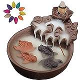 Nanssigy - Porta incenso in ceramica per laghetto con 10 coni di incenso, bruciatore di incenso a cascata, per aromaterapia, decorazione per casa, ufficio, fragranza artigianale