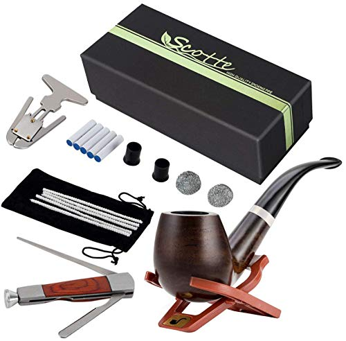 Scotte Tobacco Pipe Handmade Pear Wood Root Smoking Pipe Gift Box and Accessories (Black&B)