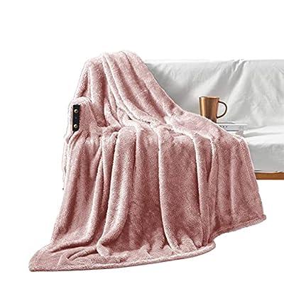 "Exclusivo Mezcla Plush Fuzzy Large Fleece Throw Blanket ( 50"" x 70"", Dusty Pink)- Soft, Warm& Lightweight"