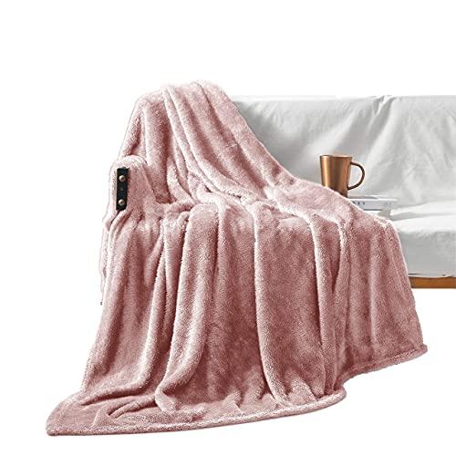 Exclusivo Mezcla Plush Fuzzy Large Fleece Throw Blanket ( 50' x 70', Dusty Pink)- Soft, Warm&...