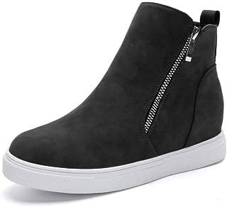 Xiakolaka Women Wedge Sneakers Hidden Wedge Heel Sneaker with High Top Side Zip