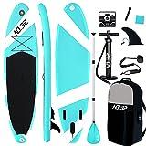NO.32 Tabla Hinchable de Paddle Surf + Sup Paddle Remo de Ajustable | Bomba | Mochila | Aleta Central Desprendible | Kit de Reparación y Surf Leash(300 * 76 * 15cm Grosor, Carga hasta: 350kg)