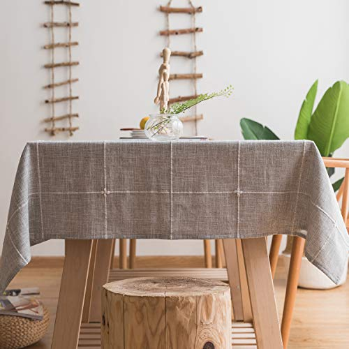 Chizoya Heavy Duty Cotton Linen Tablecloth for Rectangular Tables Solid Embroidery Lattice Table Cloth for Kitchen Dinning Tabletop Decoration (52'x52', Gray)