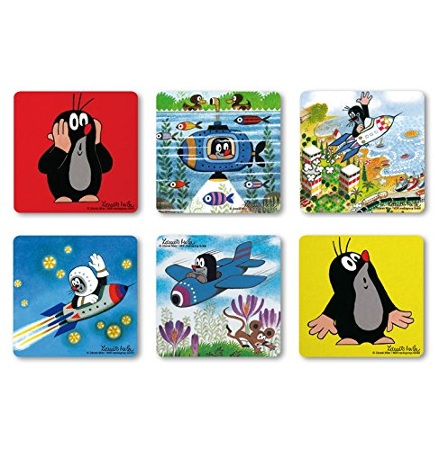Logoshirt TV - Cartoon - De kleine mol - op ontdekking - Coaster - onderzetter set van 6 - gekleurd