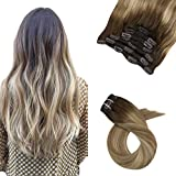 Moresoo 18 Pouces Extensions a Clip Cheveux Humains Balayage #3 Brown a #8 Marron Clair avec #22 Blonde Cheveux Naturel Clip Extensions 7PCS 100G Extension a Clip Cheveux Lisse Remy Hair