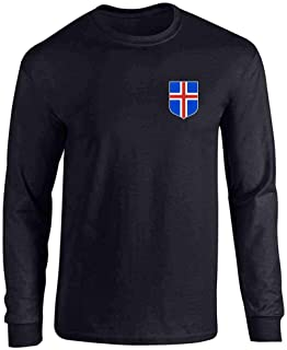 Iceland Soccer Retro National Team Costume Full Long Sleeve Tee T-Shirt