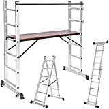 tectake Mobile Scaffolding Steel Work Platform Multifunction Rolling Ladder