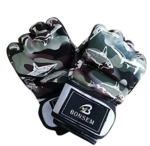 Boxhandschuhe Boxsack Camouflage Half Mitts Muay Thai Boxhandschuhe Training Stanzen Sparring Grappling Sandsack Kickboxen Fighting Gym 10Oz