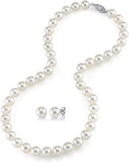 14K Gold AAAA Quality Round White Freshwater Cultured Pearl Necklace & Earrings Set in 18