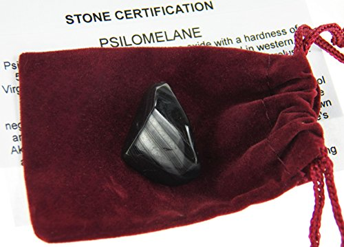 Fundamental Rockhound Products: Psilomelane Tumbled Stone Gemstone Crystal with Carrying Pouch, info Card, Stone Certification (1 Small)