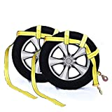 Tow Dolly Basket Strap with Twisted Snap Hooks for Small to Medium Size Tires by Robbor Brand 2 inch Webbing 12,000 lbs Breaking Strength Tire Bonnet&Tire Net Fits Most 14-17' Tires