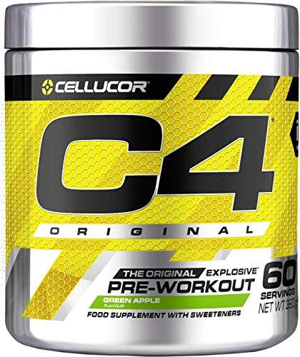 Poudre pré-entraînement C4 Original - pomme verte | boisson énergisante pré-entraînement sans sucre | 150 mg de caféine + bêta-alanine + monohydrate de créatine | 60 portions