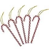 Anyasen Zuckerstangen Deko 24 Stück Zuckerstangen Christbaumschmuck Zuckerstangen Weihnachtsbaumschmuck Baumbehang Weihnachtsbaum Dekoration Rot und Weiß Baumschmuck Weihnachten Anhänger mit Kordel
