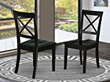 East West Furniture Boston Formal Dining Chair Wood Seat in Black Finish (Set of 2)