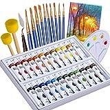 ASCOZY 24 Colori Acrilici per Dipingere per Pittura su Muro, Tela, Legno, Ceramica, Argilla e Tessuto, set di Pittura con 10 Pennelli, 2 Spugne, Tavolozza, Tela, Raschietto