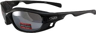 Global Vision Ratchet Padded Motorcycle Safety Sunglasses Black Frames Flash Mirror Lenses ANSI Z87.1
